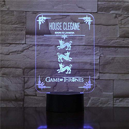 3D Symphony Lights LED Nachtlicht Casa Clegane Game of Thrones Wolf Acryl 7 Farben Ändern Touch USB Tischlampe Kinder Geburtstagsgeschenk