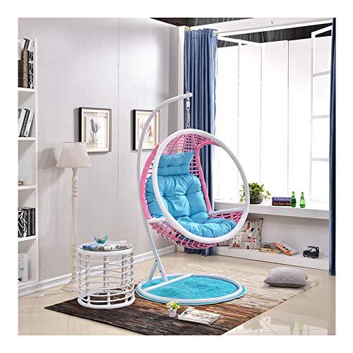 Lejzh Hangstoel, Rotan Swing Egg Chair, hangmat met kussen en tapijtbodem, opberglade, voor binnen of buiten