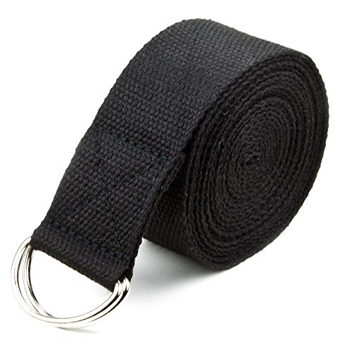 Crown Sporting Goods SYOG-451 Yoga Strap with Metal D-Ring, Cotton, Extra-Long, 10-Foot, Black