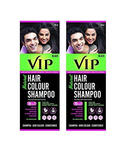 VIP Hair Black Colour Shampoo 2 pack of 180ml each combo pack