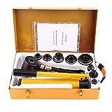 Kit de perforación de agujeros hidráulicos,Kit de perforación de agujeros redondos hidráulicos manuales Herramienta de mano para trabajar metales de perforación de agujeros metalúrgicos con 6 matrice