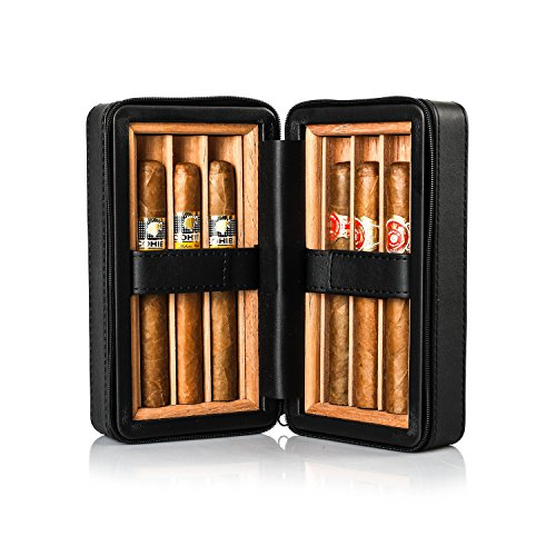 Jamestown Cigar Barcelona Leather Travel Cigar Case - Handmade Cedar-Lined Travel Case Wrapped in Soft Synthetic Leather - Holds up to 6 Full-Size Cigars