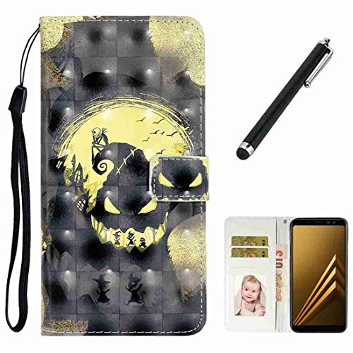 Beddouuk Case for Samsung Galaxy M10/Galaxy A10 3D Pattern Full Body Protection Leather Wallet Case mit Card Slots Kickstand Cover Shockproof Inner TPU Bumper Cover,Skull