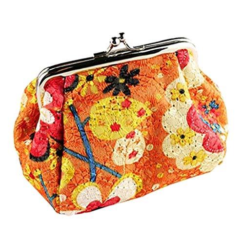 Livecitys Make-up-Tasche, Vintage-Blumendruck, Kussverschluss, Mini-Beutel, Geldbörse für Münzen