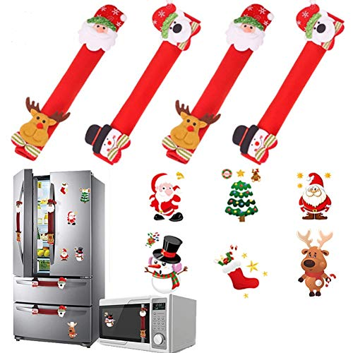 10 PCs Christmas Refrigerator Handle Covers Set - Santa Snowman Kitchen Appliance Covers Fridge Kitchen Microwave Dishwasher Handle Decorations with 6 Pcs Big Christmas Stickers (Red)