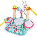 Fajiabao Tamburo Giocattolo Bambino - Strumenti Musicali Bambini con Filastro cche Neonati Batteria Giocattoli Musicale Idea Regalo per 3 4 5 6 Anni