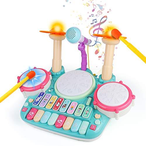 Fajiabao Tambor Infantil - Instrumentos Musicales Infantiles Batería Juguete con Canciones Infantil Kit de Batería Piano y Xilófono Set ElectróNica Idea de Regalo para Niños 3 4 5 6 Años