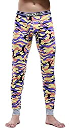 mens cotton camouflage pattern thermal pants purple