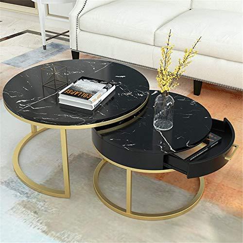 Zhengowen Satztisch Einfacher Marmor Couchtisch Wohnzimmer Home Home Coffee Table Hotel Kreative Teetisch Holz-Rund Nesting Table (Farbe : B, Size : 80x45+60x40)