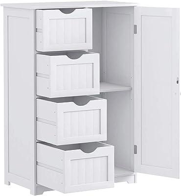 Nightcore Floor Storage Cabinet, Bathroom Floor Cabinet Wooden with 1 Door & 4 Drawer, Free Standing Storage Cupboard for Living Room, Bathroom, Bedroom, Entryway, Durable Drawer Floor Cabinet (White)