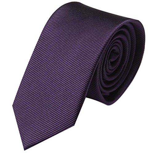 GASSANI Krawatte 8cm Breite gestreift | Violette Lila Rips Herrenkrawatte zum Sakko | Schlips Binder einfarbig Violett mit feinen Streifen