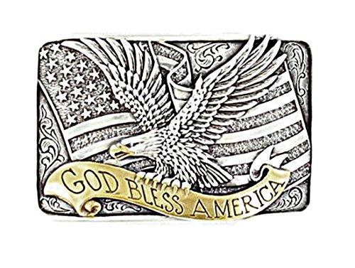 Nocona - Boucle de ceinture - style cowboy/fabriqué aux États-Unis - motif « God Bless America »