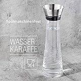 BeBuy24 2X Wasserkaraffe Glas (1 Liter) - Glaskaraffe mit Deckel und Ausgießer Wasserflasche - 3