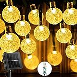 Guirnaldas Luces Exterior Solar, 60LED 11M Luces Solares Led Exterior Jardin con USB energizado por, 8 Modos & Impermeable Cadena de Hadas para Jardín, Eésped, Patio, árbol de Navidad(Blanco cálido)