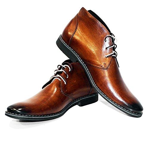 PeppeShoes Modello Buqe - EU 43 - US 10 - UK 9-28 cm - Handgemachtes Italienisch Bunte Herrenschuhe Lederschuhe Herren Braun Stiefeletten Chukka Stiefel - Rindsleder Handgemalte Leder - Schnüren