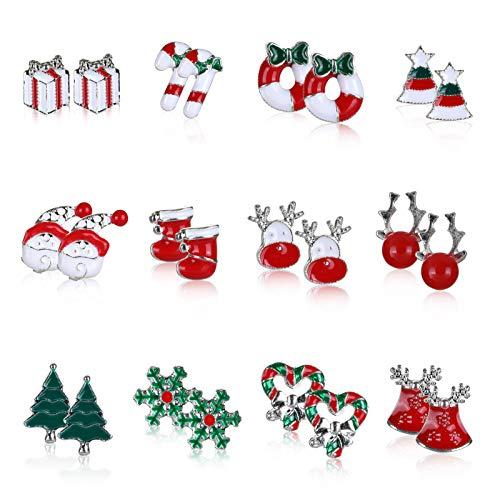 Naler Set di Orecchini Natalizi per Donna Set di Gioielli Regali per Le Donne Ragazze Bambini Costume di Decorazione Festa di Natale (Modello 1-1)