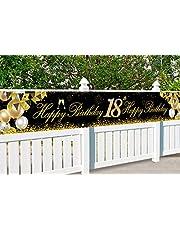 18-årsdag banderoll, 18-årsdagen dekoration svart guld, dekoration 18. Födelsedag pojke, festdekoration 18. Födelsedag, extra lång banner för 18-årsdagen Födelsedag, med 4 m rep, för födelsedag pojke