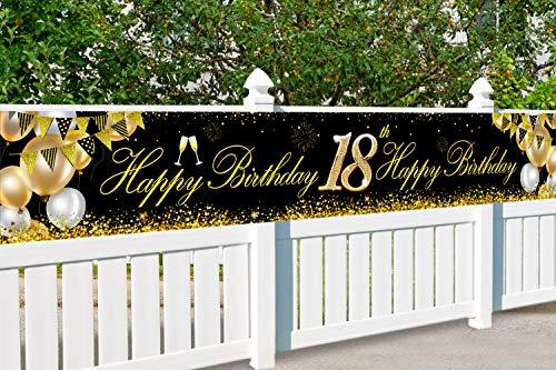 Striscione Auguri Compleanno 18, 18 Anni Compleanno Festa Decorazioni Oro Nero, 18 Sfondo di Anniversario Cabina Fotografica, Compleanno Striscione per Glitter Sfondo Poster Fotografico Forniture