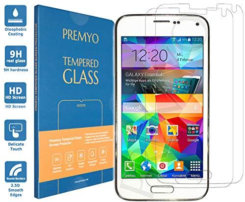 PREMYO 2 Piezas Cristal Templado Protector de Pantalla Compatible con Samsung Galaxy S5 Dureza 9H Bordes 2,5D Sin Burbujas contra Arañazos
