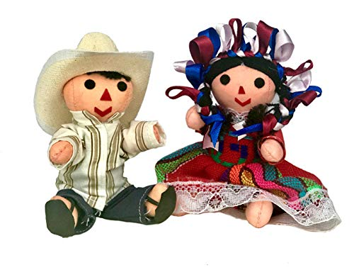 Mexican Handmade Traditional Rag Couple Dolls - 5 inches