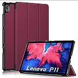 TOPCASE Ultra Delgada Funda para Lenovo Tab P11 TB-J606F 11 Pulgadas 2020 con Soporte Función Auto-Sueño/Estela,Vino Rojo