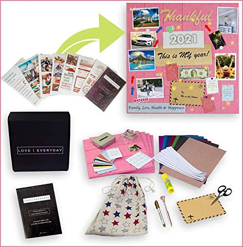 Vision Board Kit, Vision Board Supplies & Photo Collage Kit, Manifest Your Abundant Dream Life, 2021 Scrapbook Goal Planner Craft Kits for Women & Adults, Gratitude Tool & Positive Affirmation Cardss