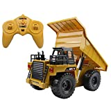 Hugine 6 Channel RC Dump Truck 2.4Ghz Full Function Remote Control Construction Vehicle