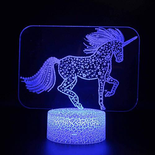 Lámpara 3D LED USB Unicornio 20 16 colores cambio automático del interruptor táctil de la decoración del escritorio