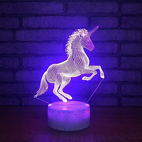 Subtop 3D Pferd Optical Illusion Lampe, 7 Farbänderung Berühren Sie empfindliches LED-Nachtlicht des Schalters mit Acrylflachem, ABS-Unterseite, USB-Gebühr für Hauptdekor Perfekte Geschenke für Baby