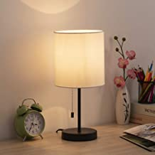 HAITRAL Table Lamp - Modern Bedside Desk Lamp with Pull Chain Fabric Lamp Shade Nightstand Lamp for Bedroom, Office, Colle...
