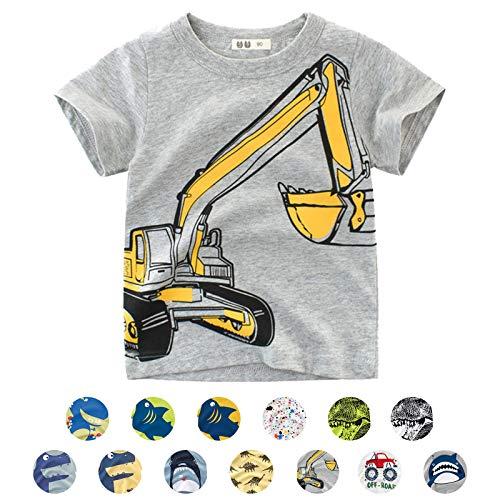 Unisex Baby T-Shirt Baumwolle Süß Karikatur Tier Muster Tops für 1-7 Jahre Alt (2-3 Jahre, Grau Bagger)