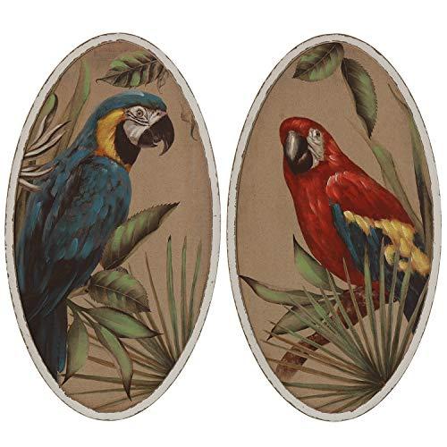 DRW Set de 2 Cuadros ovalados de Madera con Loros y múltiples Colores 50 x 90 cm