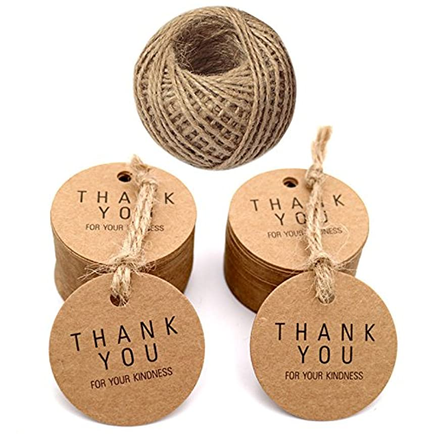 Thank You Gift Tags,100 PCS Thank You for Your Kindness Tags with 30M Jute Twine,Kraft Paper Hang Tags,Craft Brown Round Label for Wedding Birthday Thanksgiving Christmas Party Favor