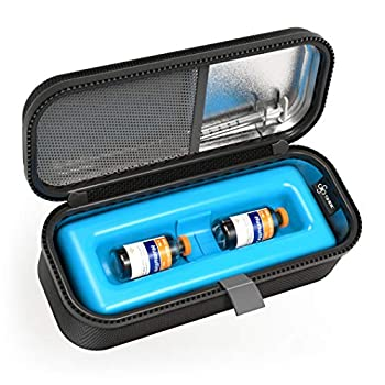 SHBC Medical Cooler Insulin Vial Carrying Travel Case Protector for Diabetic with One Ice Pack Black