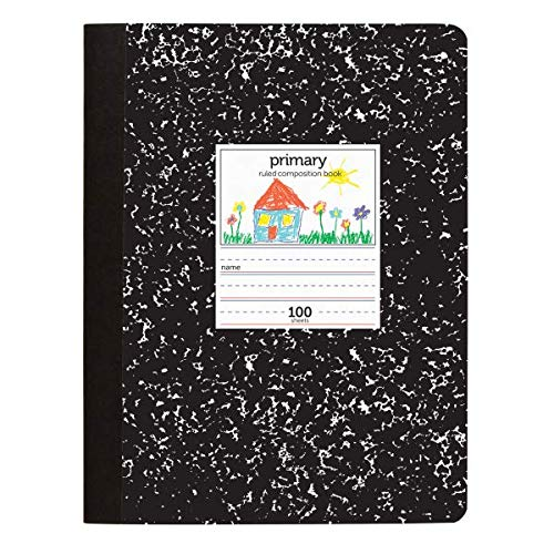 Office Depot Primary Marble Composition Book, 7 1/2in x 9 3/4in, Primary Ruled, 100 Sheets, Black/White, 400-003-273