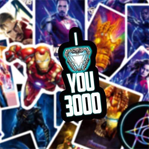 WYZNB Adhesivo para equipaje, 50 unidades, diseño de los Vengadores de la Liga de Superhéroe de Marvel
