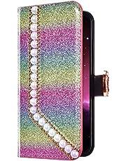 Uposao Huawei Mate 20 Lite Funda Libro con Tapa de Cuero, Purpurina Funda Diamante Glitter Brillante Perlas Corazón Patrón Carcasa Billetera Tarjetero,Cierre Magnético,Soporte Flip Case,Colorido # 1