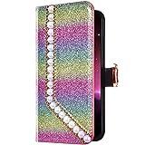 Uposao Samsung Galaxy S7 Edge Funda Libro con Tapa de Cuero, Purpurina Funda Diamante Glitter Brillante Perlas Corazón Patrón Carcasa Billetera Tarjetero,Cierre Magnético,Soporte Flip Case,Colorido #1