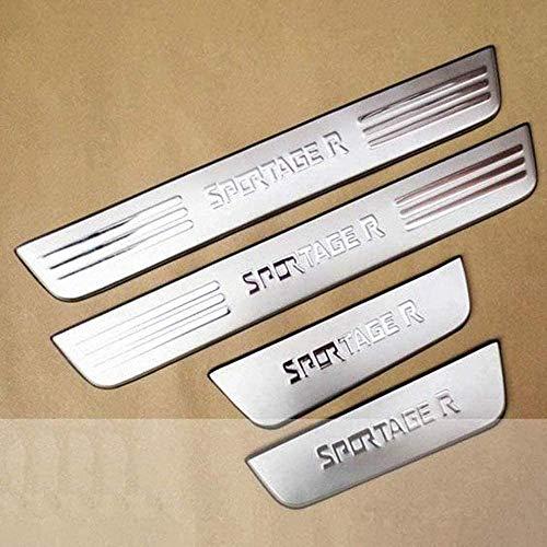 4 piezas de alféizar de puerta de coche de acero inoxidable, para Kia Sportage R 2011-2015, protector de desgaste de coche, cubierta de umbral, placa protectora, pegatina