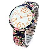 Azul marino rosas impresión floral cara grande fácil de leer banda elástica extensión reloj de mujer
