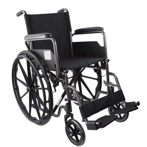 Mobiclinic, modelo S220, Silla de ruedas plegable premium, autopropulsable, ortopédica, para minusválidos y ancianos, reposapiés y reposabrazos abatibles, color Negro, asiento 40 cm, ultraligera