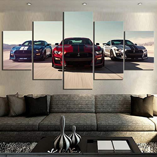 Htekgme canvas afdrukken 5 stuks Hd Luxe autos Afbeeldingen Drukposter Canvas Art Decoratieve schilderijen voor wooncultuur muurkunst