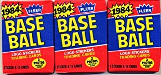 Lot of 3 1984 Fleer Baseball Wax Packs (45 Cards Total) Possible Mattingly, Strawberry Rookie Cards