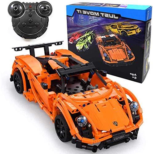 The perseids 2.4 GHz Ferngesteuerte Auto, RC Steckbausatz, Technic Bausteine Car, Fahrzeugmontage, DIY Sportwagen, Block Building Brick Fahrzeug, Vehicle Toy für Kinder(Orange)
