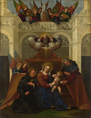 Das Museum Outlet–Ludovico Mazzolino–Die Heilige Familie mit St. Nikolaus von Tolentino, gespannte Leinwand Galerie verpackt. 50,8x 71,1cm