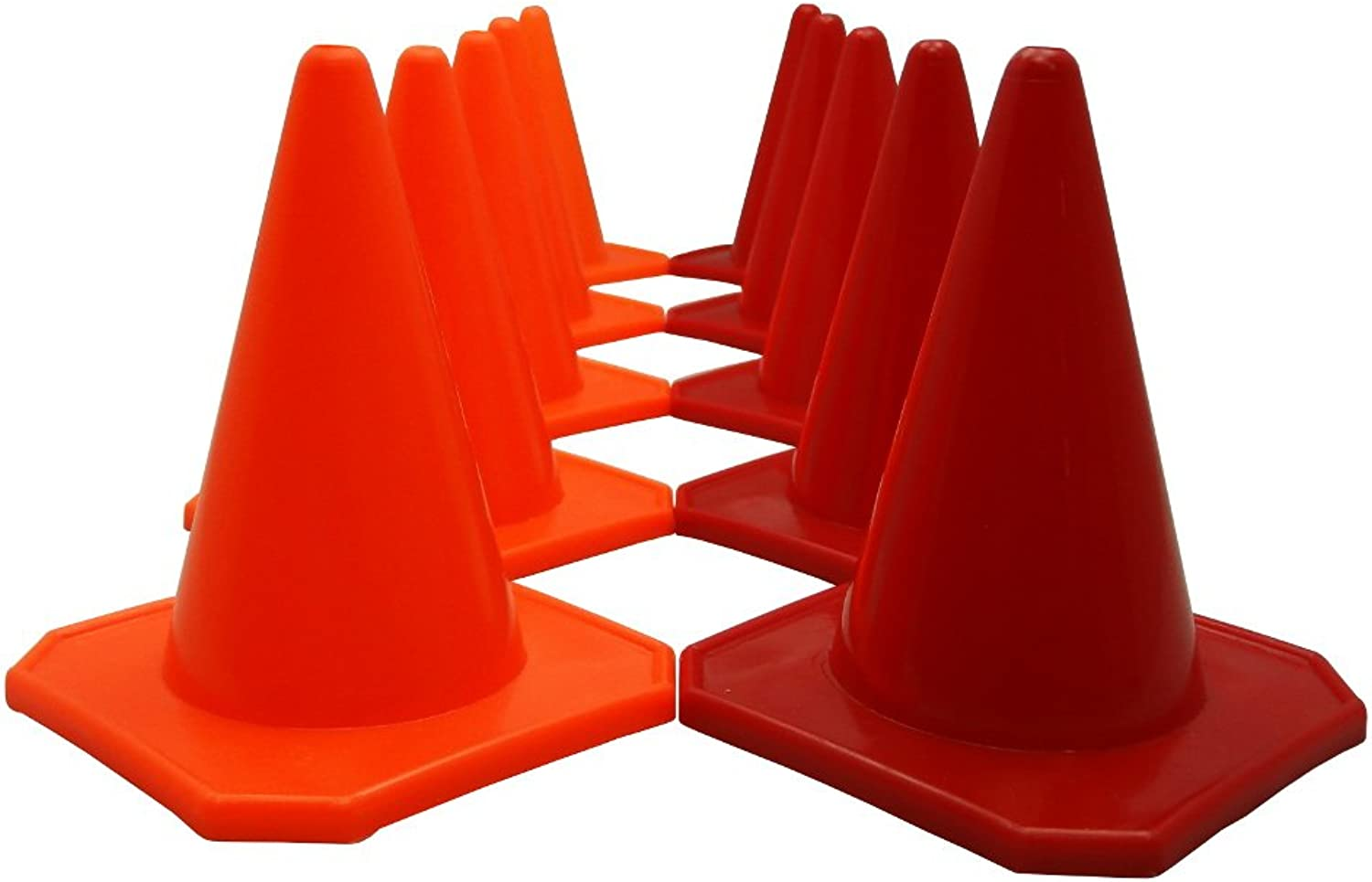 blueeeDot Trading 5 red 5 orange Four inch Agility Cones (10 Pack), 4 , orange & Red, Red & Yellow
