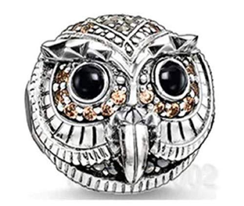 EVESCITY - Abalorio de plata con cristales de Swarovski y topacio de búho sabio para pulseras de abalorios, el mejor regalo de joyería para los amantes de los animales