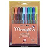 Sakura Gelly Roll Moonlight 10 Pack, 06 Fine point, Earth & Jewel Tone Colors, Opaque Gel Pens, Creamy Smooth Ink, Writes on Dark Paper