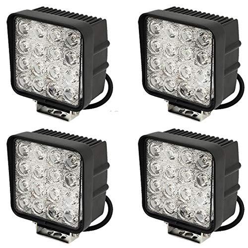 Leetop 4X 48W LED Carré Offroad Flood SUV Lumière Réflecteur Phare des Travaux Légers, UTV, Phares de Travail ATV Offroad Lampes Supplémentaires Phare 12V 24V Feu de Recul