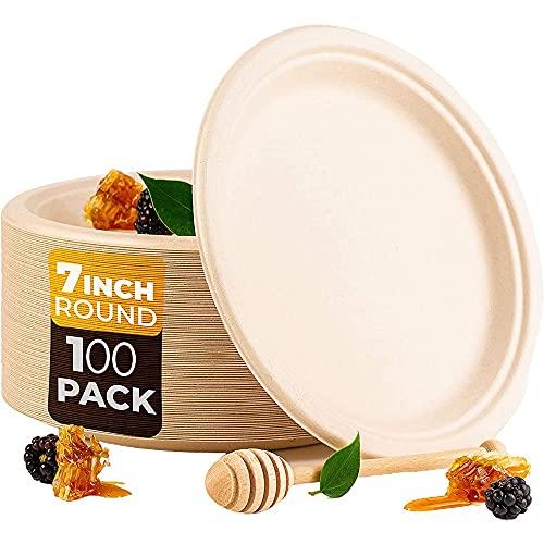 Timagebreze Paquete de 100 Platos de Papel de Bagazo Redondos Desechables Compostables de 7 Pulgadas, Fibra de CaaA de AzúCar Biodegradable
